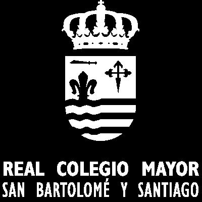 Logo Real Colegio Mayor San Bartolomé y Santiago Negativo Blanco